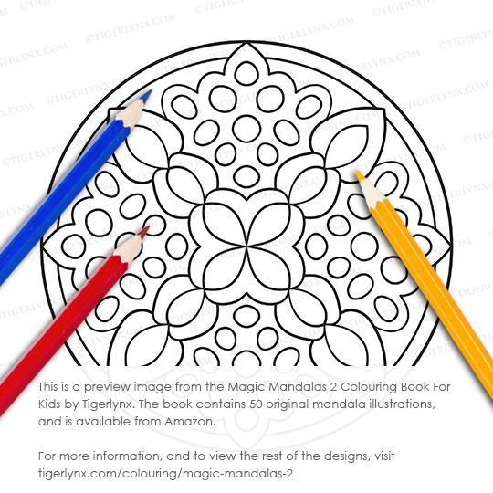 This easy mandala colouring page is from the Magic Mandalas 2 Colouring Book For Kids by Tigerlynx. This book has 50 original mandala designs, and is available from Amazon. For more info, and to see all the illustrations, visit http://tigerlynx.com/colouring/magic-mandalas-2 #coloring #colouring #coloringbook #colouringbook #kidscoloring #kidscolouring #childrenscoloring #childrenscolouring #mandala #mandalacoloring #easycoloring #art #illustration #geometric #abstract #beginnercoloring