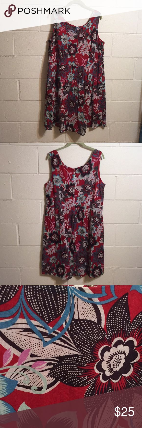 "TALBOTS Bold Floral Cotton Dress Sleeveless. Fully lined. Babydoll style. Back Zipper. Bra holder snaps. 24"" bust across, 42"" length. EUC Talbots Dresses"