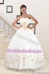 2015 Spring Modest Beading Quinceanera Dresses in White