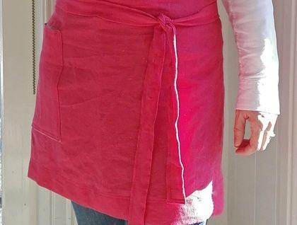 Bistro style half apron, crafters apron, linen apron, cafe apron, market apron