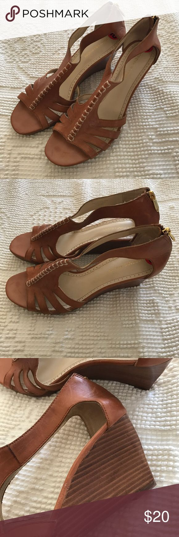 Adrienne Vittadini Brown Wedge Sandals Size 10 🌸 - Brand: Adrienne Vittadini 🌸 - Details: Brown Wedge Sandals With Back Zip 🌸 - Condition: Some Minor Wear On Soles & Marks On Footbed, Nice Condition  🌸 - Fit: True To Size 10 Adrienne Vittadini Shoes Wedges