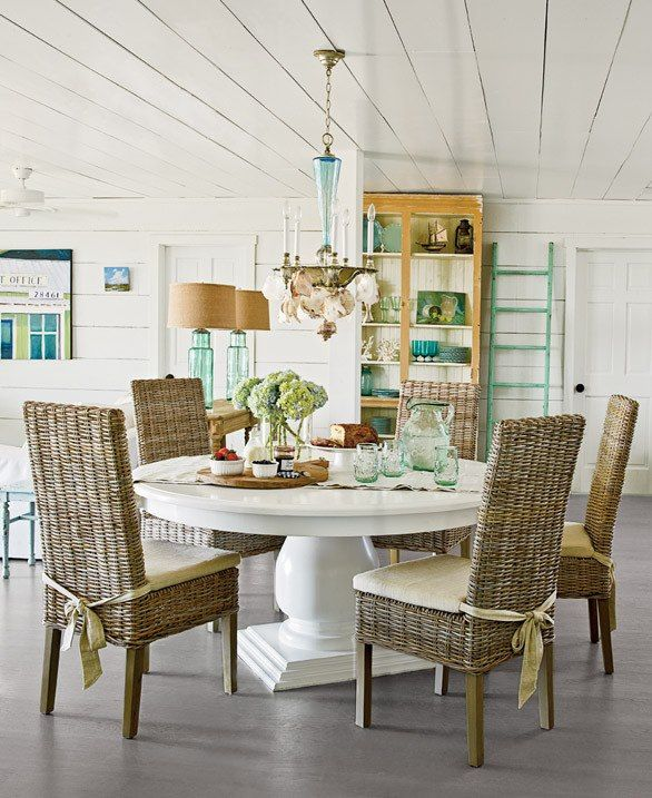 Beach Dining Room Sets: Casual . White Pedistool Table + Seagrass Chairs