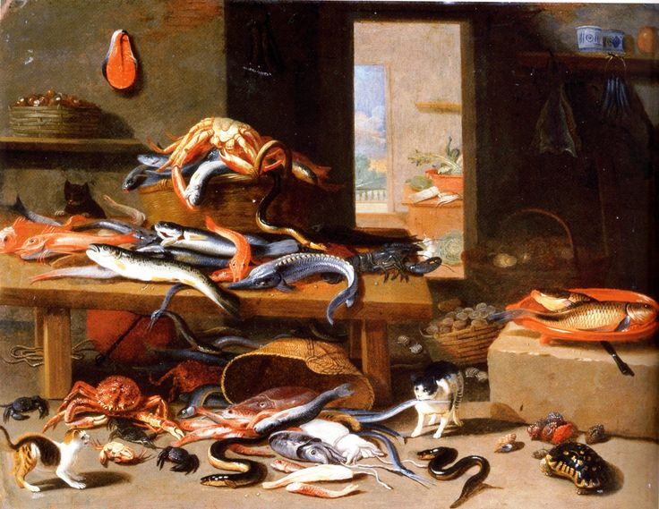 Jan van Kessel,(1626-1679) cats and crustaceans. Oil painting, Flemish, still life. Scan of 2 d image in the public domain believed to be free to use without restriction in the US.: