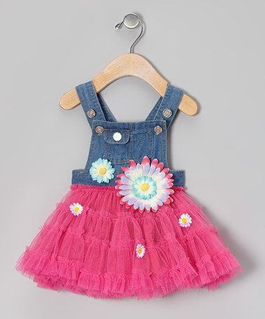 Loving this Fuchsia & Denim Overalls Tutu Dress - Infant & Toddler on #zulily! #zulilyfinds