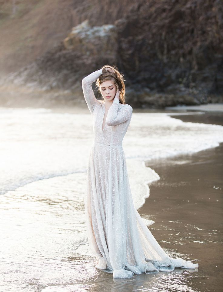 A shimmering + beaded Claire La Faye wedding gown for the whimsical + bohemian bride.