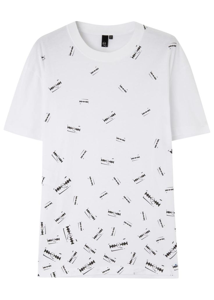 McQ Alexander McQueen white cotton T-shirt Black razor blade print, ribbed neckline Slips on 100% cotton