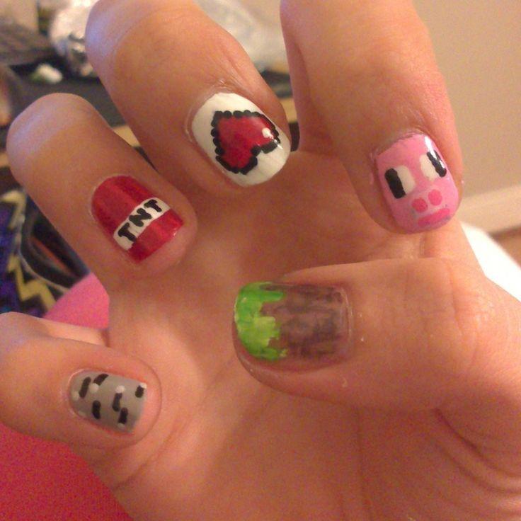 2014 Halloween Minecraft Nails Art - Pig, Heart, TNT, Nails for 2014