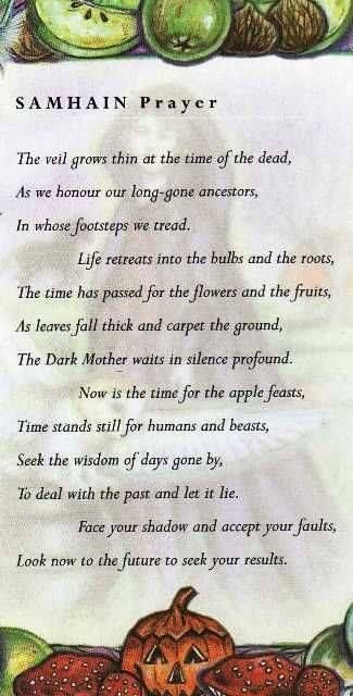 Samhain prayer, good and simple, for use after the opening of the magic circle on that special night.
