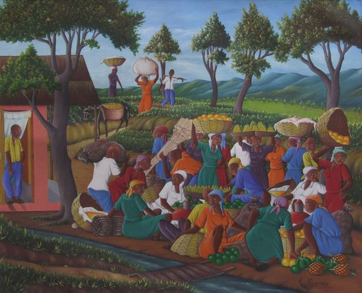 Something draws me to Haitian art. I think it is the color and the simple lines. I especially like pictures of everyday life in Haiti.