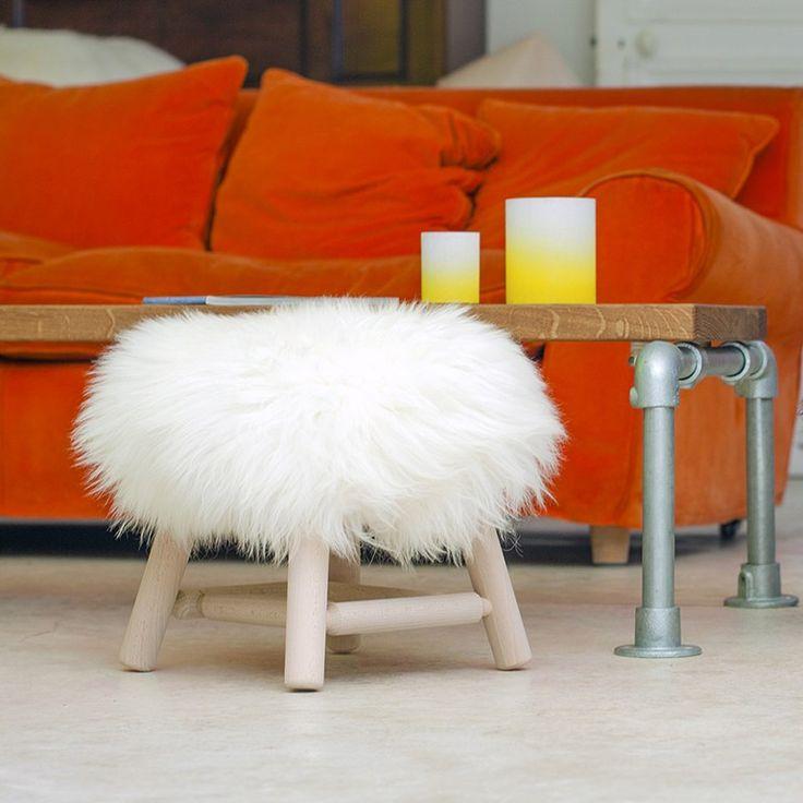 Sheepskin and wood stool STOOL MOUMOUTE - SMALL - FAB DESIGN