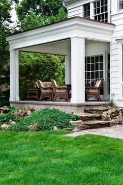 Traditional Addition Of A Covered Stone Floor Back Patio Porch Design Ideas, Pictures, Remodel and Decor