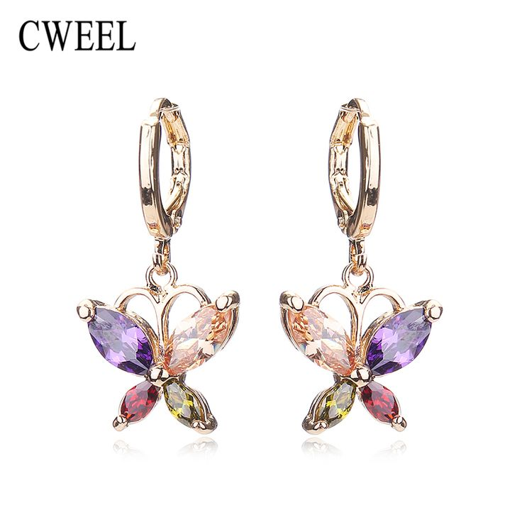 CWEEL Party Imitated Crystal Stud Earrings For Teen Girls Gold Plated Women Wedding Bridal Holiday Fashion Earring Accessories