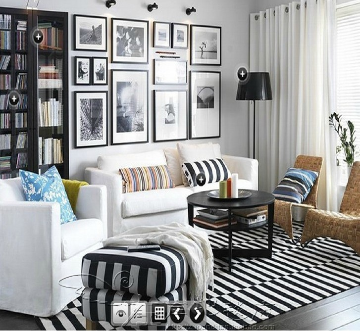 Floating Square Coffee Table In Green And Black Slatelike: Fashion Black And White Stripe Carpet Living Room Coffee
