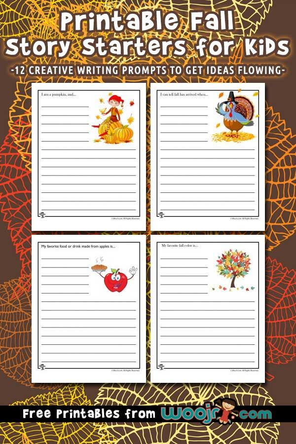 Fall Story Starters to Print for Kids | Teacher Worksheets | Story ...