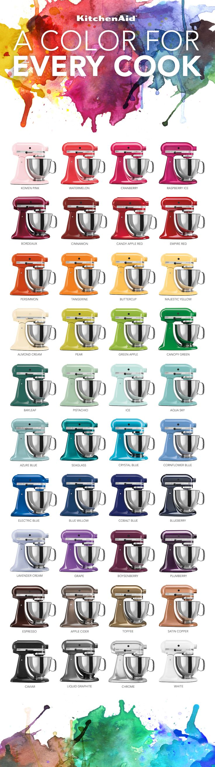 Ki Ki Kitchenaid Mixer Colors - Kitchenaid stand mixers infographic kitchenaid i want any one of the following colors