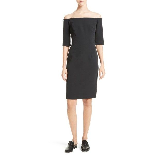 Women's Milly Off The Shoulder Sheath Dress (815 BAM) ❤ liked on Polyvore featuring dresses, black, milly cocktail dresses, sheath cocktail dress, off the shoulder dress, lbd dress and milly dresses