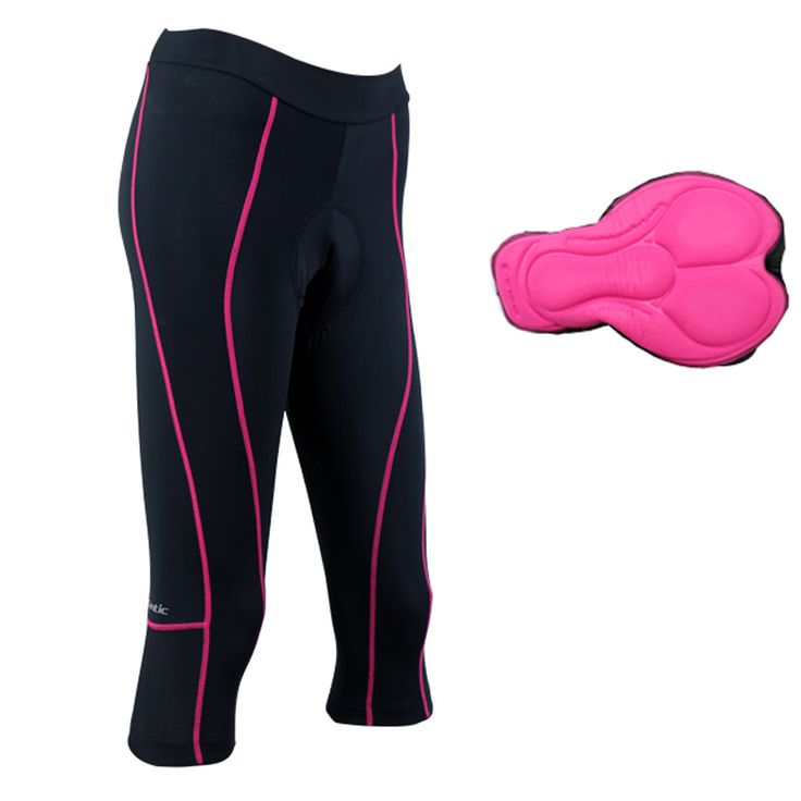 Santic Bicycle Cycling Clothing 3D Padded Bike Tights 3/4 Women's Cycling Pants Purple S-XL