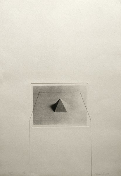 Liliana Porter, Untitled with Pyramid (1974), Plate size: 31 ½ x 24, Photo etching and pencil
