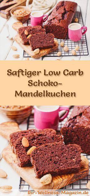 Rezept für einen saftigen Low Carb Schoko-Mandelkuchen - kohlenhydratarm, kalorienreduziert, ohne Zucker und Getreidemehl