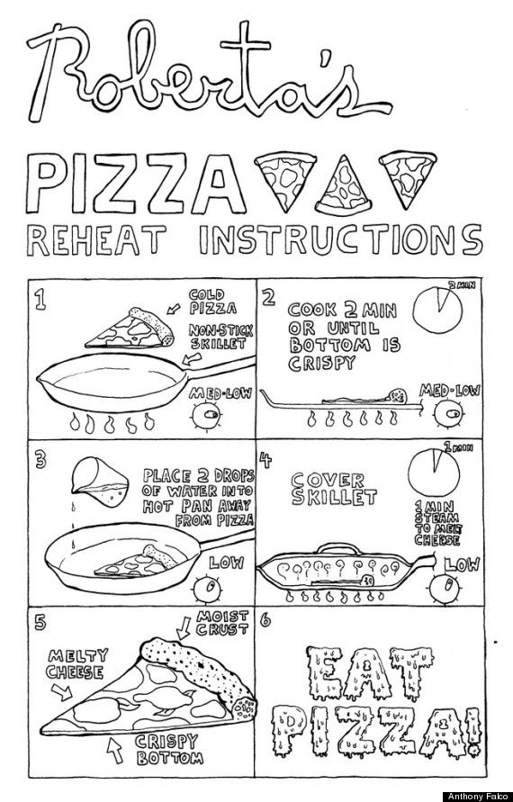 How to reheat pizza on the grill instead of the microwave or the oven for a change. Anthony Falco, a pizza-maker at Roberta's in Brooklyn, draw this cute illustration showing exactly how to grill cold pizza to hot perfection. #pizza #leftovers