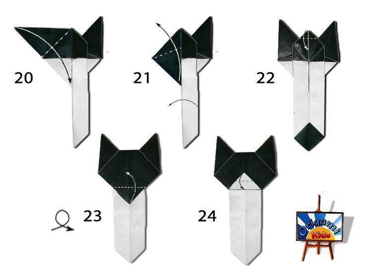 Origami Cat Bookmark Diagram