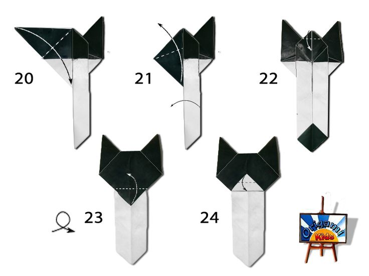 Origami Cat Bookmark Diagram
