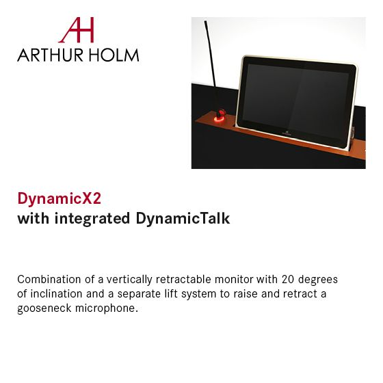 By adding DynamicTalk to DynamicX2, both the microphone and the screen have independent lift and retract controls