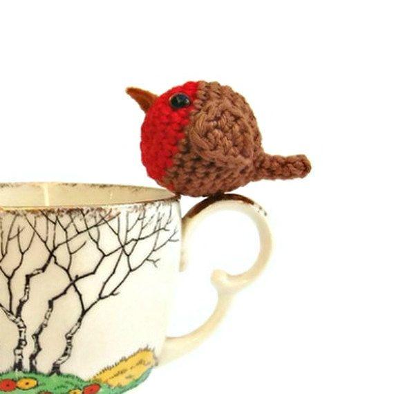 Crochet robin pattern pdf tiny robin christmas decoration by Lybo