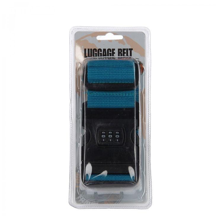 Veilig op weg met deze verstelbare kofferriem met een handige clipsluiting met cijferslot. Dankzij de felle kleur blauw, groen of roze vind je gemakkelijk je koffer terug. De riem heeft een lengte van 180 cm. Verschillende uitvoeringen worden door elkaar geleverd. Afmeting: verpakking 20 x 9 x 5 cm, kofferriem 180 cm - Kofferriem