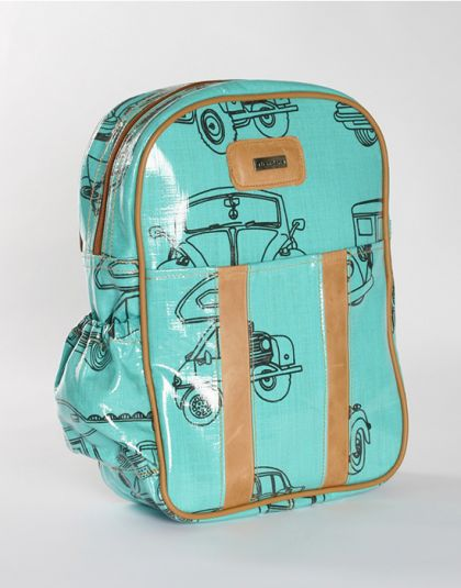 Fun, beautiful Thandana Kiddies Backpack turquoise and black in color with a car motive.  Shop @ www.wave2africa.com