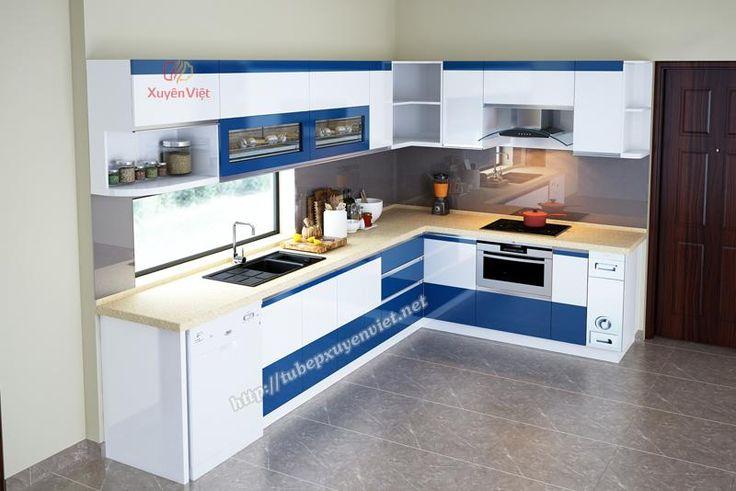Thiết kế tủ bếp chữ L màu xanh dương nhà chị Trang - Gia Lâm XV197