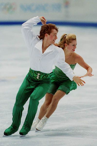 Canada's Shae-Lynn Bourne and her partner Victor Kraatz perform during the Olympic Ice Dancing competition at the 1998 Nagano Winter Olympic Games)
