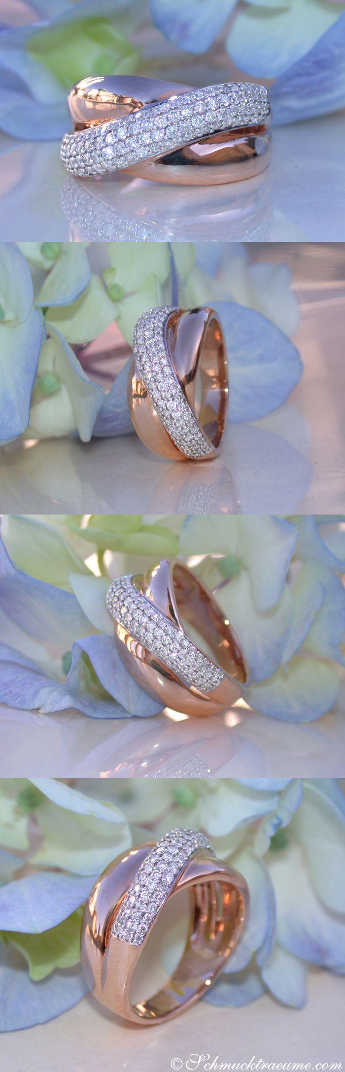 Elegant: Crossover Diamond Ring in Rosegold 18k (0.65 ct. H SI1/2) - schmucktraeume.com Like: https://www.facebook.com/Noble-Juwelen-150871984924926/