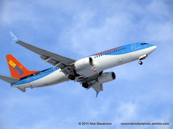 https://flic.kr/p/rrwg6x | Sunwing B-737-800 C-FJAU | A Boeing B-737-800 with split scimitar winglets winds its way down to a landing at CYWG / Winnipeg.