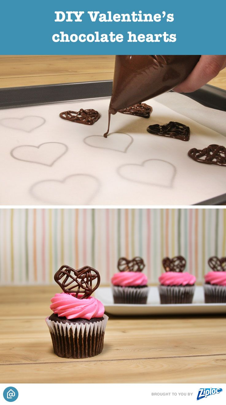Plus up store bought cupcakes by adding a homemade chocolate heart. Print out heart designs on a piece of paper. Layer a baking sheet with the printed paper and parchment paper. Melt chocolates in a microwavable bowl and transfer to a Ziploc® bag. Cut a hole at the tip of the bag to drizzle chocolate in a heart-shaped pattern. Refrigerate for 2 hours before placing on top of cupcake.