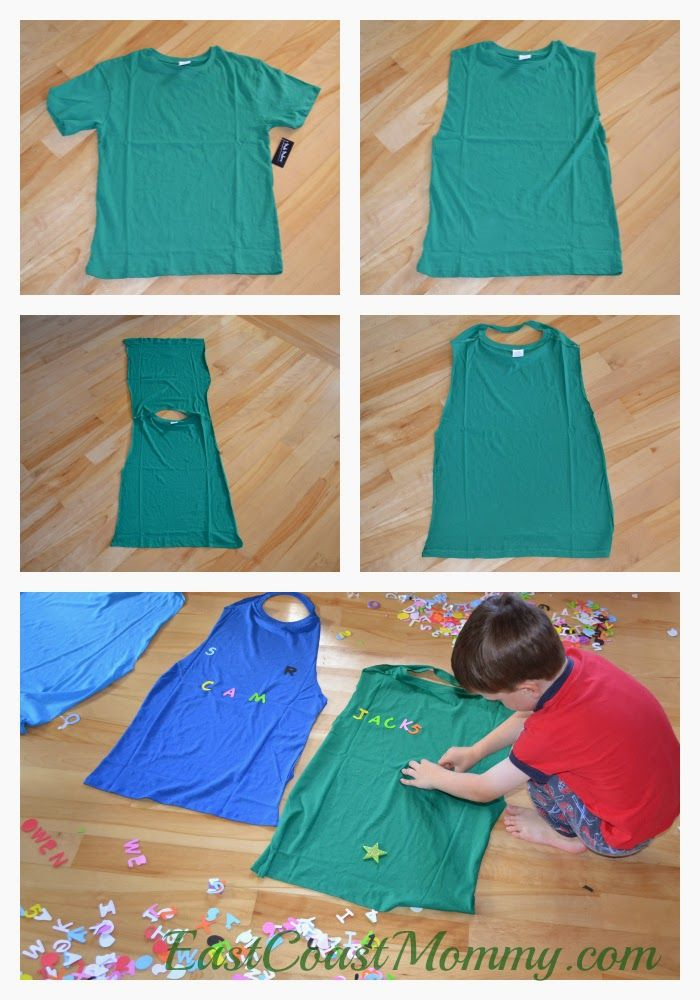 No-Sew Superhero Cape from a t-shirt. The post has a tutorial for toilet roll superhero cuffs too. Fun!