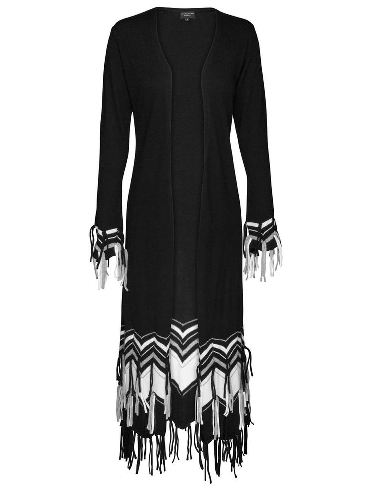 The Altitude Knit is a fun take on the classic floor-length cardigan with tassle detailing at the wrists and hem and contrasting zig-zag pannels at the hem. Looks great paired with leather pants, boots & a tee.  Features:  Made from Viscose Cotton Knit Come in black with contrasting cream and smoke pannels.