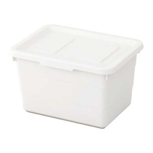 """IKEA - SOCKERBIT, Box with lid. You can easily stack boxes of different sizes, as they're made to fit each other.  Two of these fit on top of 15"""" deep  large box. ~ ap"""