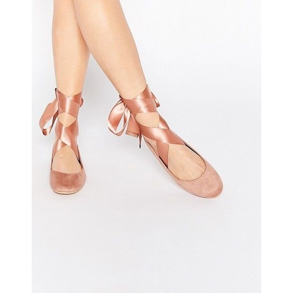 Glamorous Nude Suedette Ribbon Tie Ballet Shoes ($25) ❤ liked on Polyvore featuring shoes, flats, nude strappy shoes, nude ballet pumps, strappy ballet flats, ballet shoes and t-strap flats