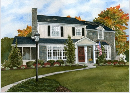 Custom House Portraits in Watercolor