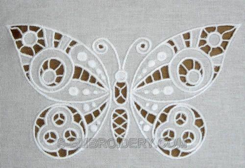 Butterfly cutwork rendas máquina bordados - imagem detalhada