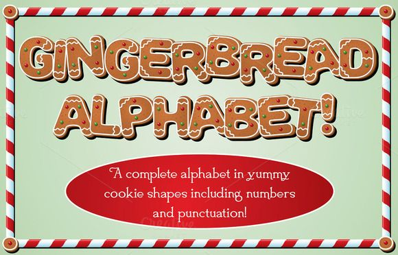 Gingerbread Alphabet by Girardspeed Designs on @creativemarket