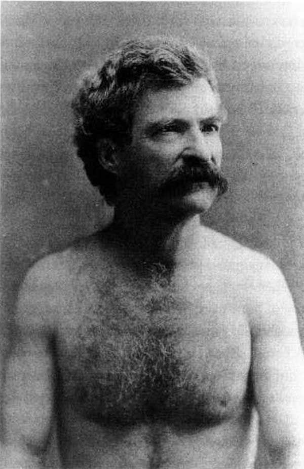A shirtless Mark Twain, circa 1883