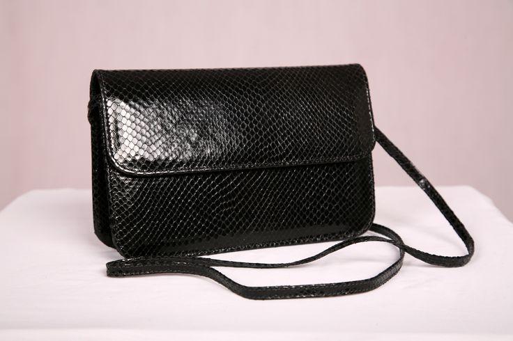 Premium leather Black Italian snake print handbag handcrafted in Australia by Louis Ferrier.