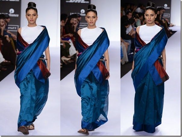 Payal_Khandwala_Blue_Saree. love the flow and colour.