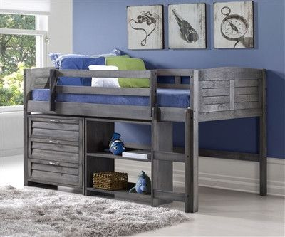 Loft Bed Kits with Dresser and Bookshelves