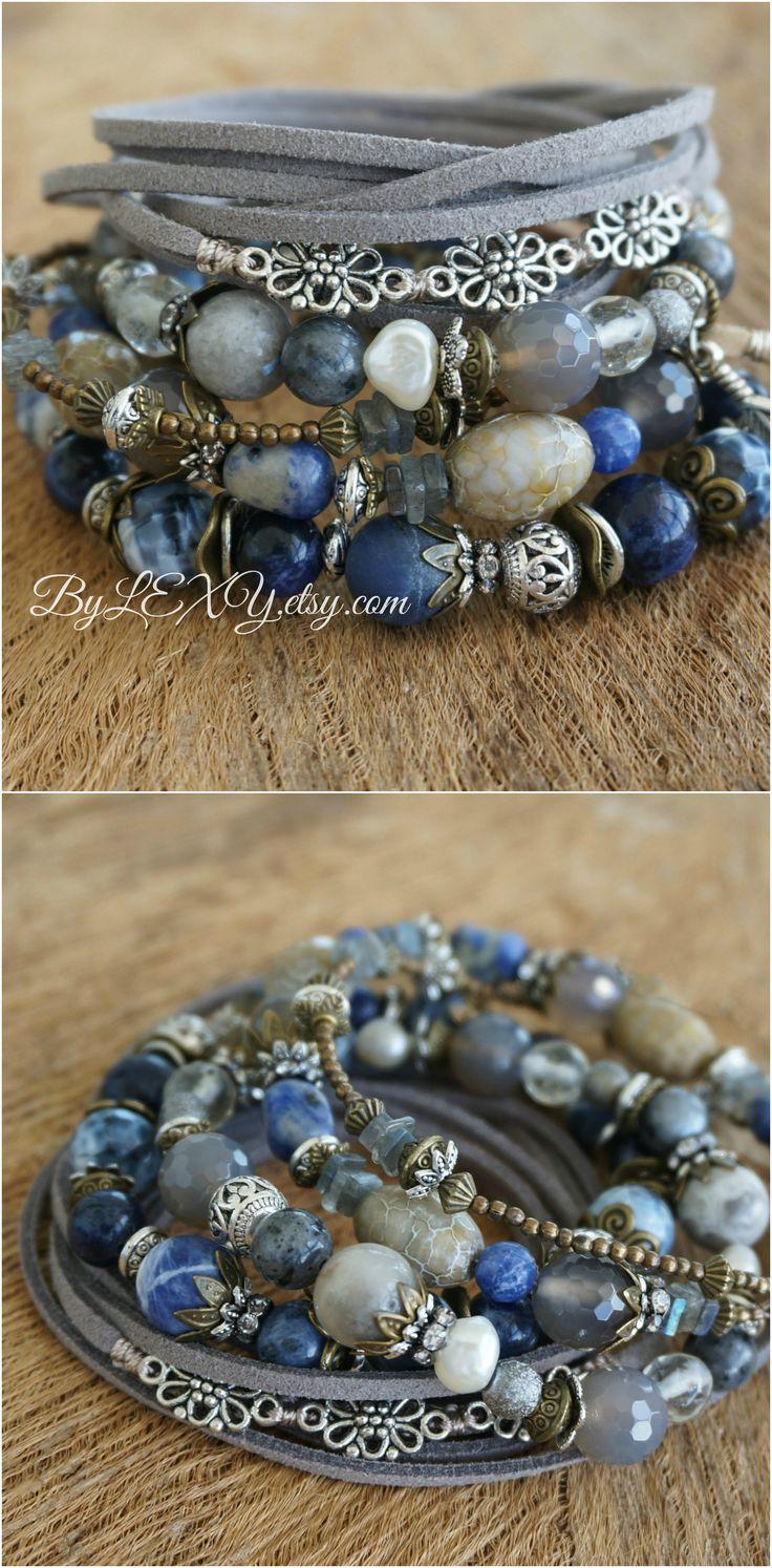"Set of 4 Bohemian ""Cloudy Bay"" Stack Wrap Bracelets by LEXY"