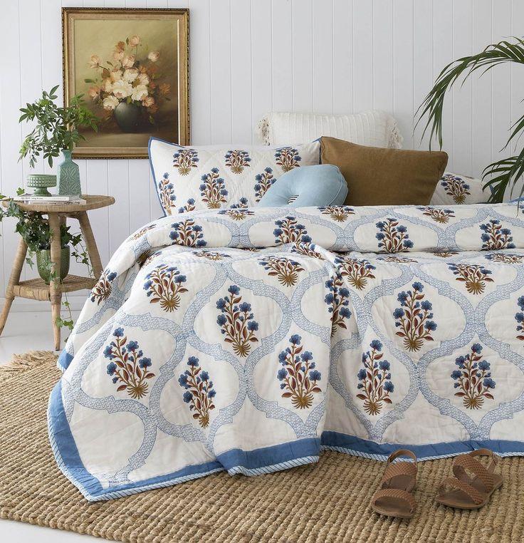 Blue Rust Mughal Floral Quilt/ Bedspread