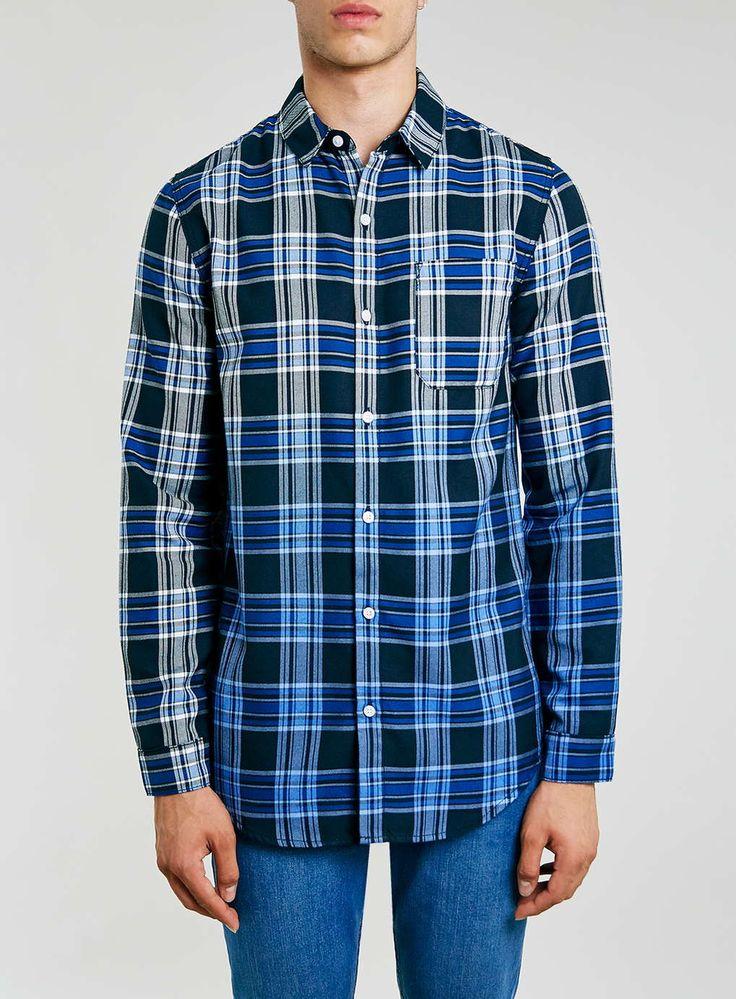 Blue Dipdye Casual Check Long SleeveTwill Shirt - Men's Tops - Clothing