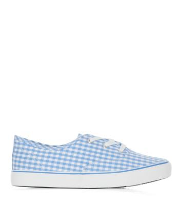Blue Check Lace Up Trainers